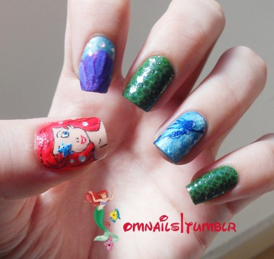 omnails:  The Little Mermaid nail art | I felt really inspired by The Little Mermaid movie to paint my nails, it's not my best design but I really like it and I hope you mermaids like it too! xoxo, from the bottom of the ocean :)   Love love love!