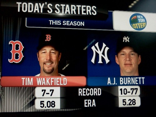 AJ's record is actually 10-11, but I guess even the Yankees TV folks don't have faith in him. (EDIT:  Fellow eagle-eyed Tumblrer thethirdshift notes that it's Tim WAKfield, too.  :-)