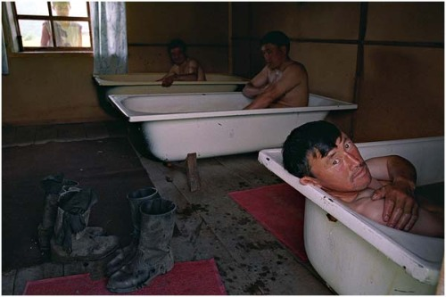 "war-photography:  ""Workers bathe in ""shurpa"" - broth from antler velvet. It is considered, that such baths promote increase of a potency"" Kazakhstan, East-Kazakhstan Region, village Shaidarabash by Sergey Maximishin"