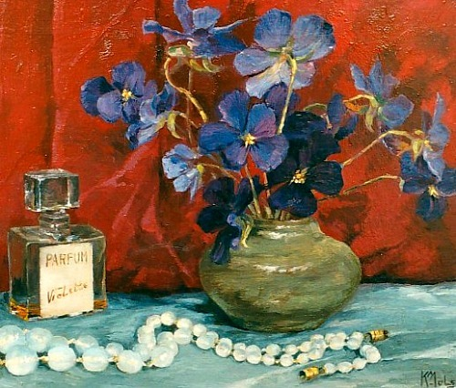 Carolus Joannes Mols Still Life with Violets and a Perfume Bottle 1920-40