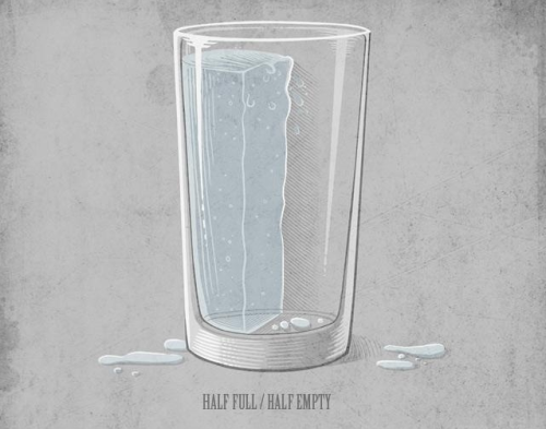 I see the glass as both half full & half empty.  How about you?