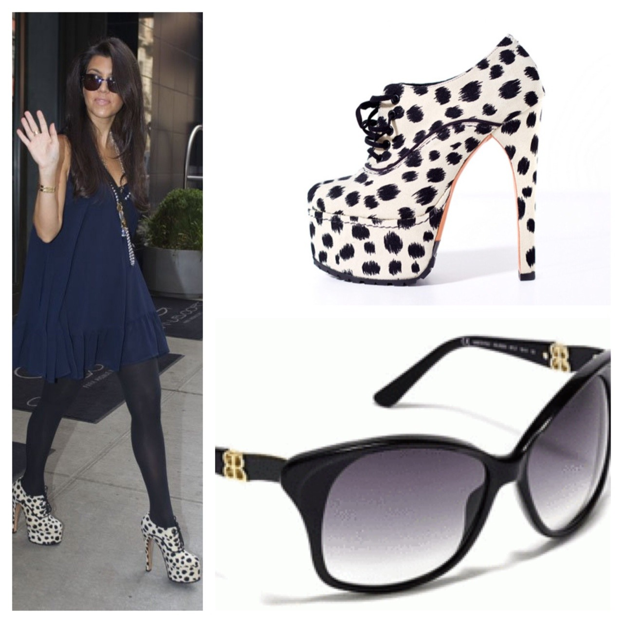 billidollarbaby:  GET THE LOOK: Kourtney Kardashian Dress: Finders Keepers Shoes: Penelope & Coco Necklace: Tat 2  Sunglasses: Balenciaga