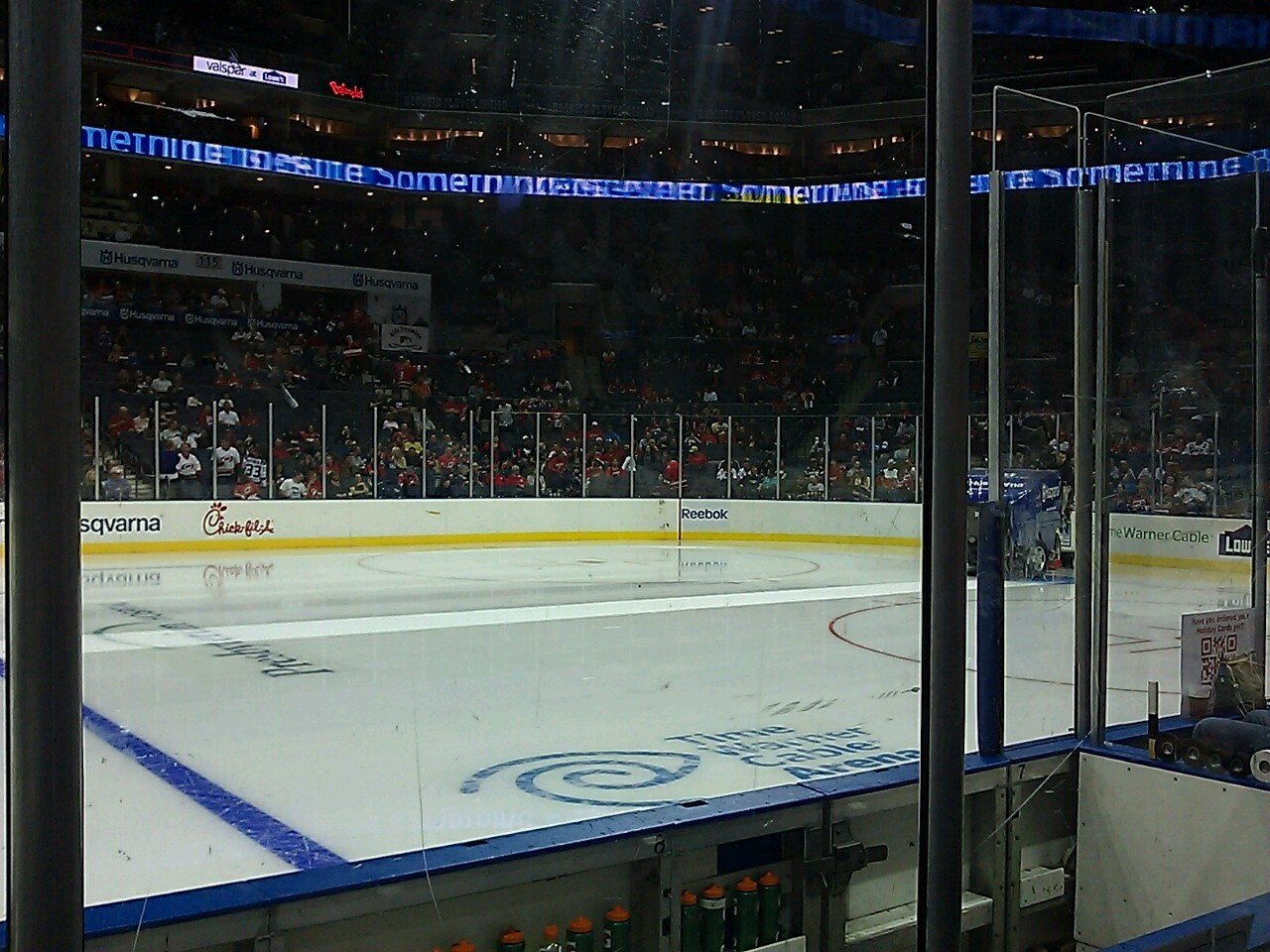 Andy took me to a hockey game! This is my first time. It the Hurricane's vs the Jet's. We are right behind the player's bench just to the right of center ice. I'm not a big sports fan, but I must admit this is pretty exciting!