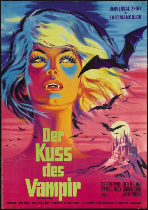 sillygirl-xvx:  beautyandterrordance:  German poster for The Kiss of the Vampire (1963)  I want this on my wall.Oh boy.