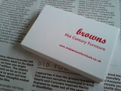 'Browns' Letterpress business card designed and made by Maple Tea. If you'd like to discuss ordering some custom business cards, contact me via my website Maple Tea is based in Brixton, London.