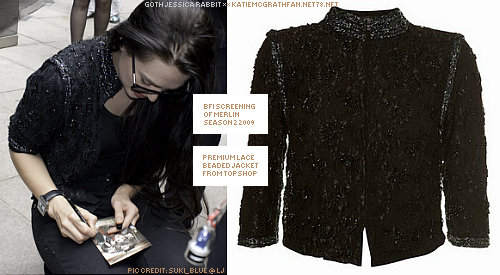 At the BFI screening of Merlin 2x01 in 2009, Katie wore Topshop's premium lace beaded jacket.Purchase:Jacket not available online.