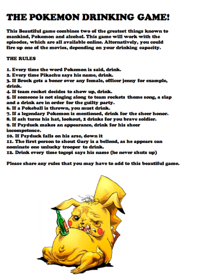 puertoricantyphlosion:  THE POKEMON DRINKING GAME