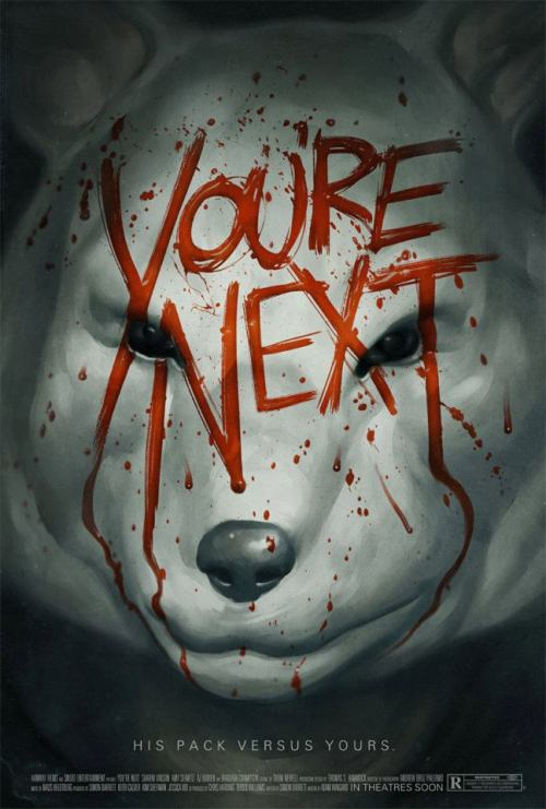 phantomcitycreative:  YOU'RE NEXT by Phantom City Creative We saw Adam Wingard's You're Next as part of the Midnight Madness  program at the 2011 Toronto International Film Festival, and were  immediately inspired to create this poster. One of our favourite parts  of the movie are the animal-mask wearing intruders that descend upon the  unlucky protagonists, which we chose to feature.