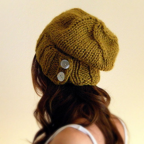 Knit Inspiration: KittyDune | knit womens hat slouchy citrine chunky. This looks very comfortable!