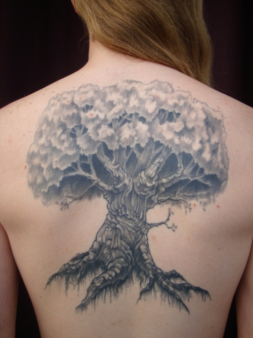 I got my first tattoo in 2009 cause I just like the look of trees. I was very much inspired by Yggdrasil, the world tree of Norse mythology. Also the fact that my last name 'van den Boom' translates directly into 'of the Tree' meant that I just had to get this. Tattoo done by Pawel Jankowzki.