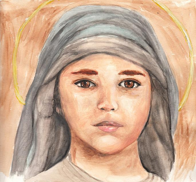 "The Child Jesus. Sometimes, I try to branch out and draw new things, but people always say, ""Do another one of Mary and Baby Jesus!"" So here I am. I don't mind a bit. :)"