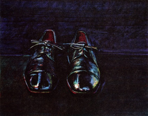 cavetocanvas:  Black Shoes - Wayne Thiebaud, 1983