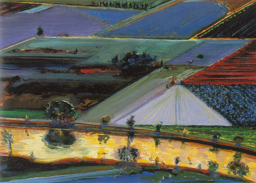 cavetocanvas:  Farm Channel - Wayne Thiebaud, 1996