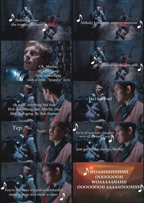 "cornerdefangirl:  daughteroctober:  luv-savanna:  merlinstolethetardisfrombakerst:  literally the best post i have ever seen   I just spit mac and cheese on my laptop. DON'T CARE, WORTH IT  alsjfajfirnbaesdxc   ""by that farmer"" BHAHAH  i love this fandom.   /just sang along"