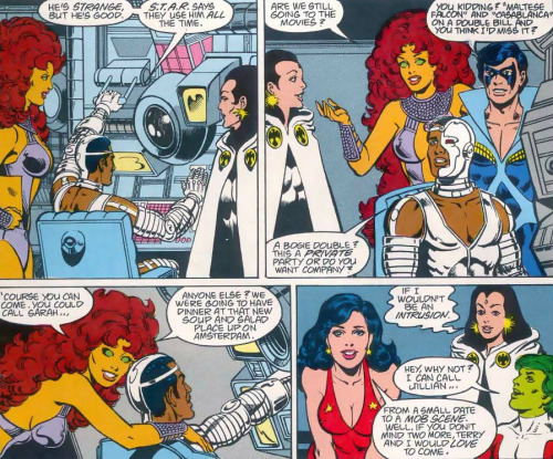 fycomicbookfriendships:  New Teen Titans v2 #47 Movie date with the Titans!