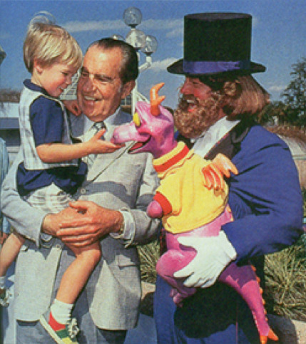 taylormariegreen:  Richard Nixon and his grandson meet Figment and Dreamfinder.