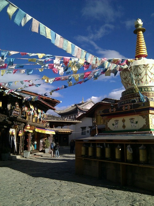 "Part of the old town in Zhongdian (""Shangri-La""), northern Yunnan province."