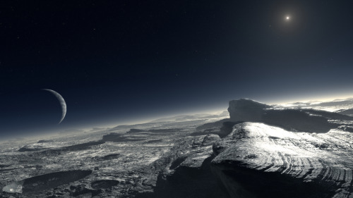 A computer-generated impression of the Plutonian surface, with atmospheric haze, the largest moon, Charon, and the Sun in the sky.