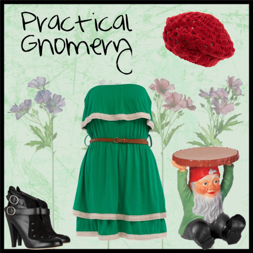 dandylionqueen: Practical Gnomery by clockworkprincess featuring a flower print dress CUTE! Definitely a spring outfit, though. It's way too chilly in Alaska for this outfit.