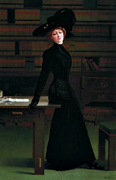 Harry Wilson Watrous Waiting in the Library 1900-10
