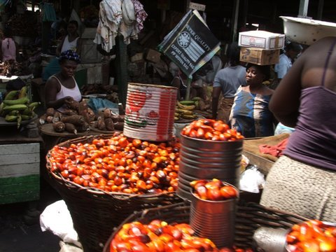 Places in GhanaPalm nut fruit on sale at Makola Market, Accra