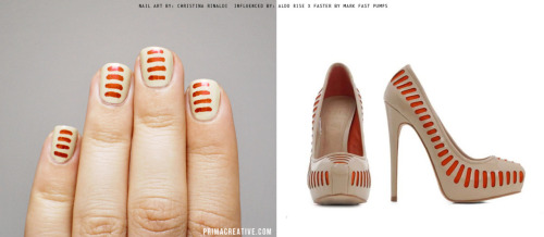 primacreative:  NAILS DID : Faster Manicure INSPIRED BY: ALDO RISE x FASTER by MARK FAST pumps Base : American Apparel California Trooper,  Lines : Sally Hansen Nail Art Pen Red  this should be in my life