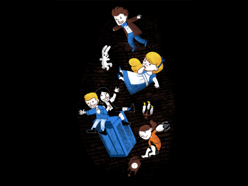 Today's Woot shirt features The Doctor, Bill & Ted, Chell from Portal and Alice. Woot hate/loves me to death. Design by Anna-Maria Jung