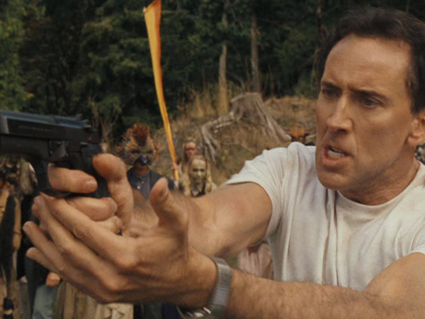 Expression: WAIT. This gun is made of licorice!  Film: The Wicker Man