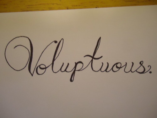 "30 Day Drawing Challenge: Day 7Draw your favorite word. ""Voluptuous"" isn't really my favorite word. I don't have a favorite word. So I did the first word I find attractive that came to my head and wrote it in a pretty font."