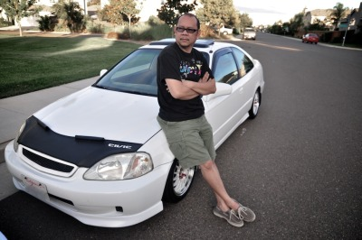 Dad and his Civic.