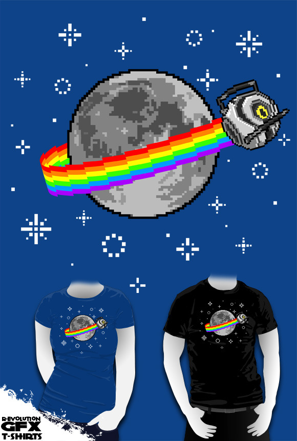 r-evolution-gfx:  Nyan Space Core The original and the best :] my design has been ripped off by a so called professional site, won't mention which site, not worth it, suffice to say their version looks terrible, a 5 min amateur job at best. BUY ME HERE: http://www.redbubble.com/people/revolutiongfx/t-shirts/7812150-nyan-space-core   Want