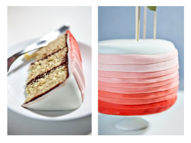 sueswink:  Ombre Cake RECIPE- http://notwithoutsalt.com/2011/09/17/video-gradient-cake/