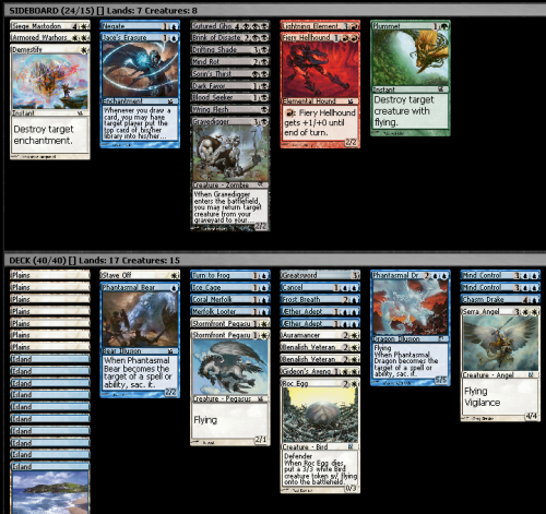 M12 Draft (8-4), 26/9/2011 I was left with two packs after the last draft, so I figured I would buy another one and play an 8-4, where I was very likely to lose, and that would be the end of my draft experience. This was the first time I have played an 8-4. I haven't played one before due to a combination of just preferring to play as many games as possible (I want to get the most out of my money), and being a little intimidated and assuming I won't get into the finals, so it seeming like kind of a waste of the packs. This draft started a little poorly. I picked up an early Mind Control and Aether Adept, but there wasn't a whole lot else coming, and I had to be content with taking a bunch of mediocre black cards. I opened a Serra Angel in pack 2, and figured it was worth taking a chance of abandoning black for. White seemed pretty open in pack two since it was so cut in pack one, so I got a few more reasonable cards. I think I opened the other Mind Control in pack 3? Which definitely helped me out; before that my deck was looking neither powerful nor consistent. I almost splashed black for Gravedigger and Wring Flesh, but at the last moment I decided Greatsword and Cancel are okay enough that I don't need to strain the mana base. I was a little concerned with the lack of removal, but I like having the Ice Cage and two Mind Controls with Auramancer. I won the first two matches on the back of Serra Angel and/or both Mind Controls, as expected. It didn't help that my opponents seemed to be having mana problems in a few of the games. I split with my opponent in the final round as I'd rather have the packs for two drafts guaranteed than two and a bit drafts if I win.