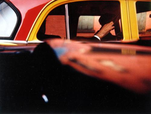 "© Saul Leiter, 1957, Taxi Leiter had developed an early interest in painting and was fortunate to meet the Abstract Expressionist painter Richard Pousette-Dart. Pousette-Dart and W. Eugene Smith encouraged Saul to pursue photography and he was soon experimenting with a 35 mm Leica. He began associating with other contemporary photographers such as Robert Frank and Diane Arbus and helped form what Jane Livingston has termed 'The New York School' of photographers during the 1940s and 1950s. ""Once, I took a taxi. I hate those limousines. They stink and their drivers have been driving dead people to the cemeteries."" (Klaus Kinski)"