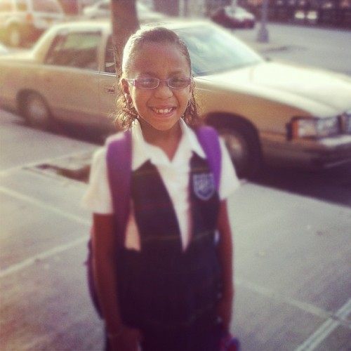 My kid on the way to school (Taken with instagram)