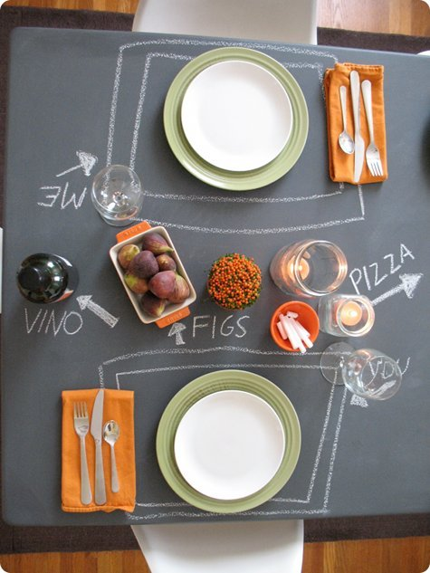 truebluemeandyou:  DIY Chalkboard Table. Still want to do some kind of chalkboard project and with chalkboard contact paper coming out, lots of possibilities. From Design Sponge here. Originally found at fontscrafts here. But what was really interesting was in the comments section. Kim wrote in with her own recipe that she uses to sell chalkboard painted items:  We make and sell chalkboards, locally and I am going to let you in on a great big money saving secret. SHH! here it is…If you don't mind a little bit of shine to begin with you can use black outdoor semigloss paint custom mix from wal-mart at $15.95 a gallon…Use outdoor semi-gloss have them mix Y8 or 64 part black only tint and mix…It is the EXACT same formula as chalkboard paint and you save a whole lot of money…After painting and it dries throughly…Rub white chalk all over the paint and then wipe off..This primes the finish and dulls it so it is not shiny……….We sell over 50 chalkboards a week and have never had one complaint about them…..People love them….And we can actually make money selling them wholesale with this savings……
