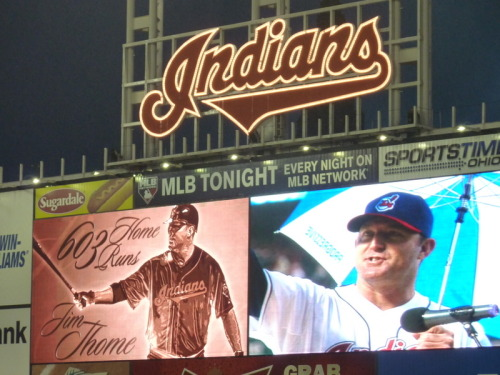 In spite of the rainy start, Jim Thome Appreciation Day at Progressive Field was a blast!  So nice to see Thome back in C-town!  He didn't disappoint and hit yet another home run for the occasion.