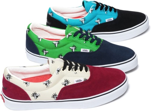 Vans x Supreme The Sk8-Hi and The Era - Supreme will be releasing two styles of Vans, each coming in 3 colorways and featuring printed canvas, waffle outsoles, premium suede uppers and leather in-soles.  Look for these at Supreme stores and online Sept 29th and in Japan starting Oct 1st.