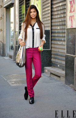 elle:  Street Chic: Milan Photo: Melanie Galea