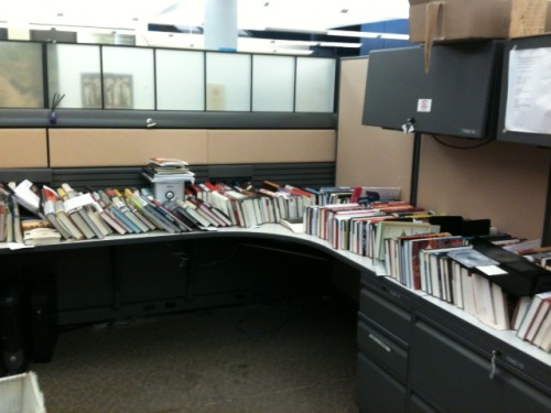 Cubicle as book shelf.