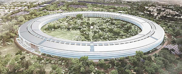 Apple's new headquarters design comprises 2.8 million square feet of office buildings. Official details are still scarce, though the application and images such as the one above have been posted on the City of Cupertino's website. This week, New Yorker architecture critic, Paul Goldberger, weighs in, and he's not exactly delighted at the plans:   However elegant the headquarters might turn out to be, it will still be a huge suburban office complex, reinforcing car culture at a time when that seems increasingly less tenable. I suppose Apple has solved enough problems over the years that it may not be entirely fair to expect it to conquer suburban sprawl, too, but you would hope that a forward-thinking company would at least try not to compound the problem.