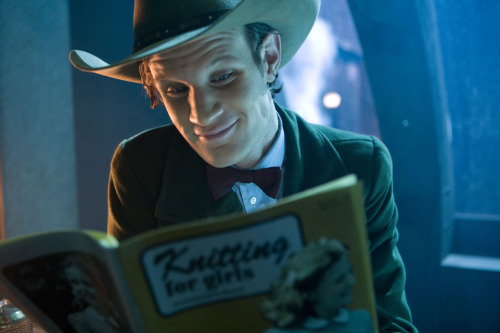 "doctorwho:  The Doctor catching up on some more reading during his Farewell Tour (promo still from ""The Wedding of River Song"" via BBC America).   First Dumbeldore in HP and now the doctor. knitting magazines are cool."