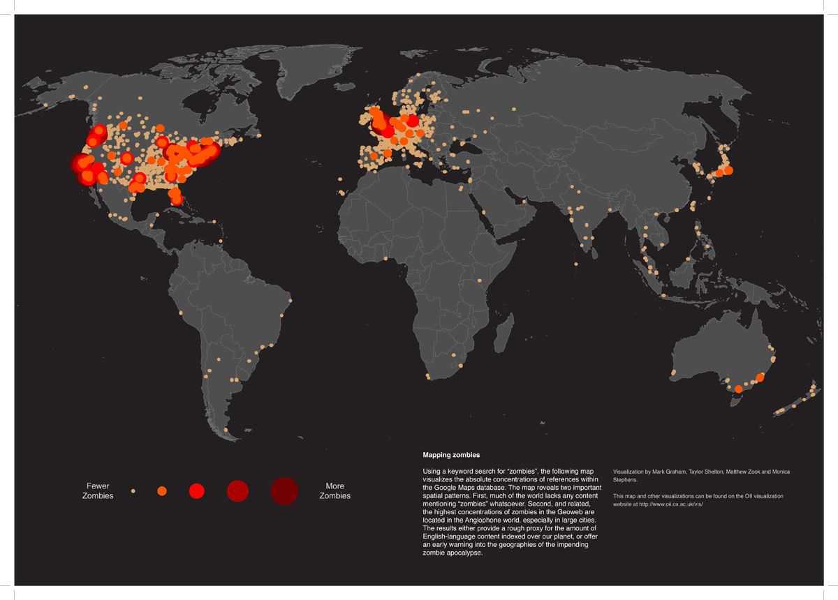 sunfoundation:   The Zombie Map of the World  What happens when you ask Google Maps for the location of zombies around the world?