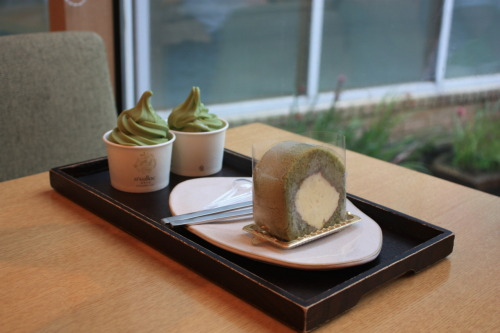 a piece of green tea roll cake & green tea icecream - Osulloc Tea Museum in Jeju island
