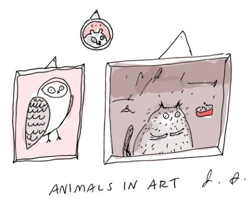 catsbeaversandducks:  Cuteness in art. Illustration by ©Jamie Shelman Via The Dancing Cat Art School
