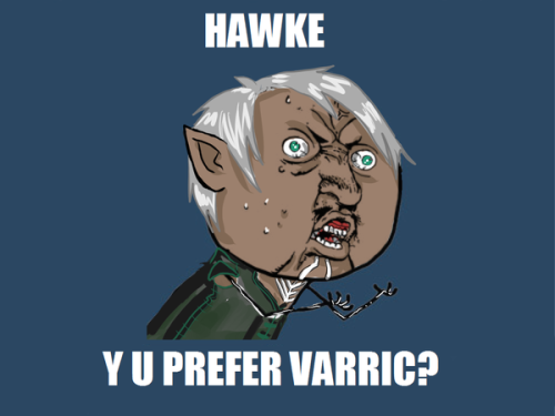 dragonagestuff:  Y U PREFER VARRIC? by =drathe  As a note to ALL of the LIs: Varric is low-maintenance. And DAT CHEST HAIR.