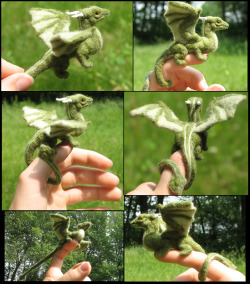 draconity:  Felted green dragon collage by ~tallydragon