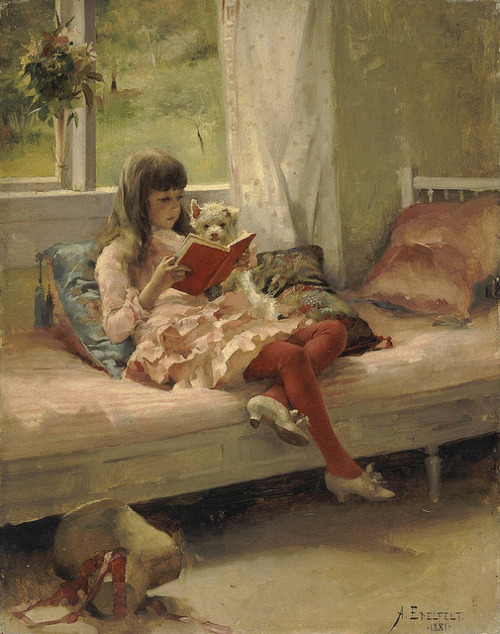 dailyamountofaurora:  Albert Edelfelt - Good Friends (Portrait of the Artist's Sister Bertha Edelfelt) 1881