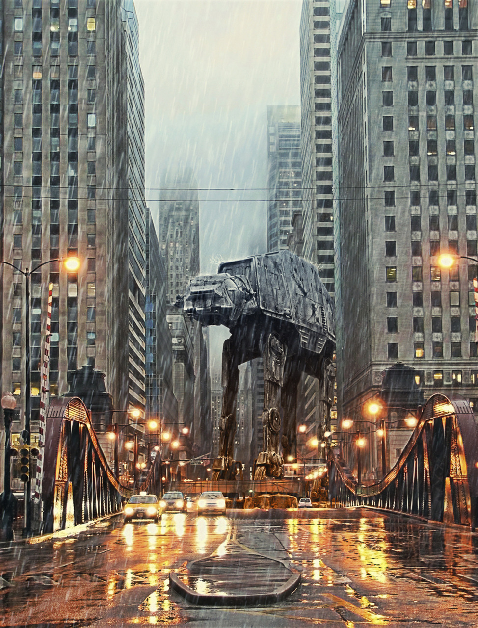 Imperial Walkers Have Entered the Windy City. #StarWars  An interesting illustration by Tony Bamber, though the scale is way off. (via laughingsquid: AT-AT in Chicago by Tony Bamber)