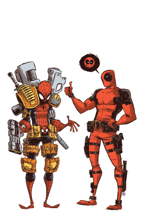 awesomealtart:  It's Comics Sunday! Skottie Young decided to portray Deadpool giving Spiderman a new look. I like it!